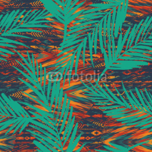 Tribal ethnic seamless pattern with geometric elements and palm leaves.
