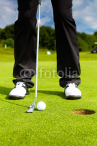 Fototapety Golf player putting ball in hole