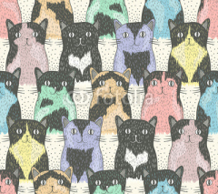 Obrazy i plakaty Seamless pattern with cute cats for children