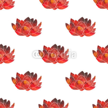 Fototapety Red lotus. Seamless pattern with cosmic or galaxy flowers. Hand