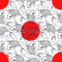 Naklejki seamless background with Japanese carps