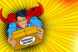 Fototapety Pop art superhero. Young handsome happy man in a superhero costume flies holding big box with super fast delivery text. Vector illustration in retro pop art comic style. Delivery poster template.