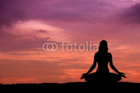 Fototapety Silhouette of a beautiful Yoga woman
