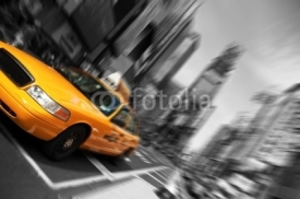 Obrazy i plakaty New York City Taxi, Blur focus motion, Times Square