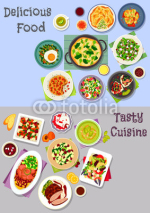 Healthy food icon set with meat, veggies and fruit