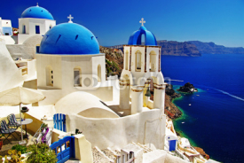 Obrazy i plakaty beautiful Santorini view of caldera with churches