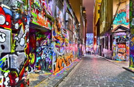 Naklejki View of colorful graffiti artwork at Hosier Lane in Melbourne