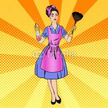 Fototapety Woman Cleaning the House. Girl Doing House Work. Pin Up Girl. Pop Art