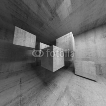 Obrazy i plakaty Abstract concrete 3d interior with flying cubes
