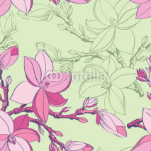 Fototapety Floral seamless pattern with drawing magnolia flowers