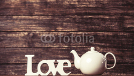 Fototapety Teapot and word Love