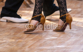 Naklejki Two tango dancers passion on the floor