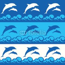 Fototapety seamless pattern with dolphins