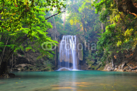 Fototapety Deep forest waterfall at Erawan waterfall National Park