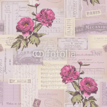 Obrazy i plakaty seamlessly tiling paper collage pattern with peonies