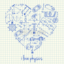 Naklejki Physics drawings in heart shape
