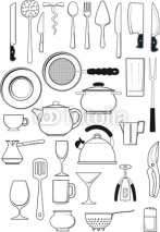 Obrazy i plakaty set of  kitchen utensils