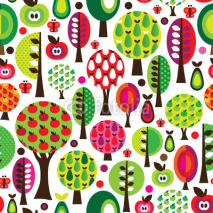 Naklejki Seamless retro flower apple pattern background in vector