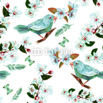 Fototapety Seamless background pattern with watercolor bird, flowers, feathers and butterflies