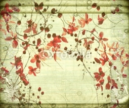 Naklejki Antique Flower on Bamboo Background