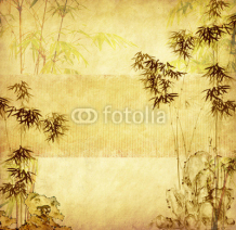 Naklejki bamboo on old grunge paper texture background