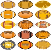 Naklejki American football, set of oval balls