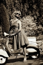 Naklejki Woman in retro dress with a scooter