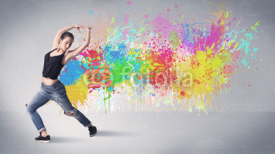 Obrazy i plakaty Young colorful street dancer with paint splash