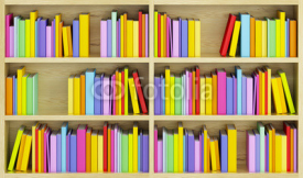 Fototapety bookcase with multicolored books