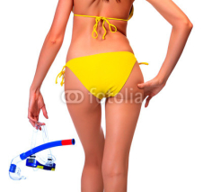 Naklejki Woman in bikini with the equipment for diving