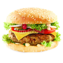 Fototapety Tasty hamburger containing meat and pickles