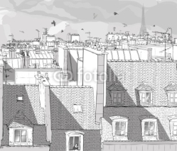 Naklejki France - Paris roofs