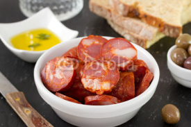 Fototapety chorizo in bowl with oil and bread