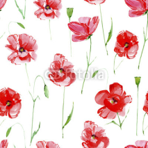 Fototapety Poppy flowers.Floral seamless pattern.Watercolor hand drawn illustration.White background.Seamless pattern for fabric, paper and other printing and web projects.