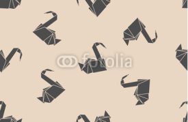 Naklejki Seamless pattern japanese paper origami cranes. Can be used for web page backgrounds, surface textures, background on business cards or poster, wallpapers, print on textiles.