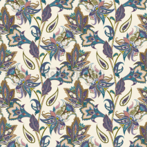 Fototapety Vintage floral and paisley seamless pattern, oriental background