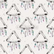 Fototapety Vector abstract grunge seamless pattern with tribal frames with ethnic arrows and feathers. American indian motifs. Boho style.