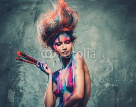 Obrazy i plakaty Woman muse with creative body art and hairdo