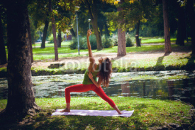 Fototapety young woman practice yoga outdoor