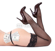 Obrazy i plakaty sexy legs and dollars isolated on white