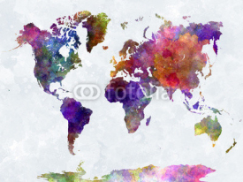 Obrazy i plakaty World map in watercolorpurple and blue