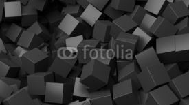 Obrazy i plakaty 3D black cubes pile abstract background