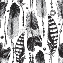 Fototapety Seamless pattern with hand drawn feathers