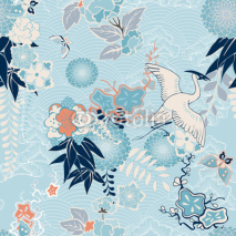 Fototapety Kimono background with crane and flowers