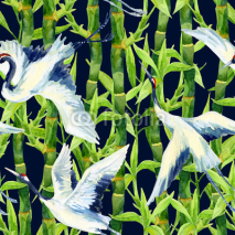 Fototapety Watercolor asian crane bird seamless pattern