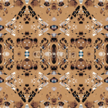 Naklejki Seamless ethnic kaleidoscope pattern. Diagonals and zigzag elements. Natural shades on brown background.