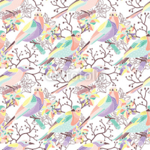 Fototapety Seamless floral pattern with birds