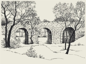 Naklejki Landscape sketch of an old stone bridge in the forest