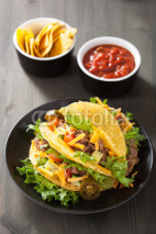 Fototapety taco shells with beef and vegetables