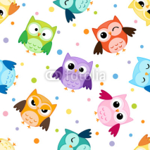 Naklejki Seamless pattern with colorful owls